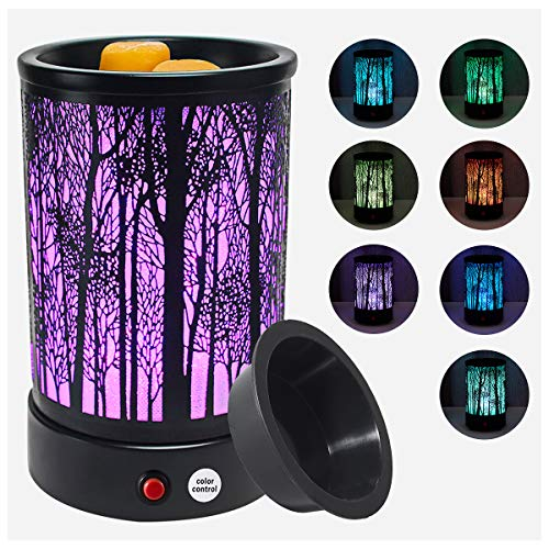 Hituiter wax warmer for scented wax with 7 Colors LED Lighting Oil lamp Wax Burner Wax Melt Warmer Metal Classic Black Forest Design for Fragrance Home Décor,Gifts