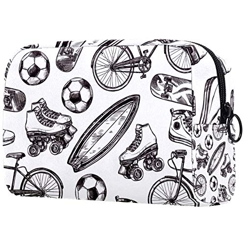Personalisierte Make-up-Bürstentasche, tragbare Kulturtaschen für Frauen, Handtasche, Kosmetiktasche, Reise-Organizer, Fußball, Rollschuh-Muster