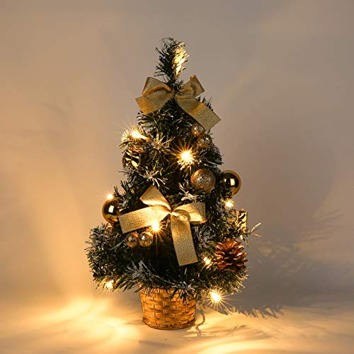 Mrinb Small Christmas Tree with Lights,Mini Desktop Decoration Tree for Home Office Shopping Bar(Gold)