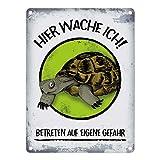 Metallschild mit Schildkröte Motiv und Spruch: Hier wache ich! Betreten auf eigene Gefahr thumbnail