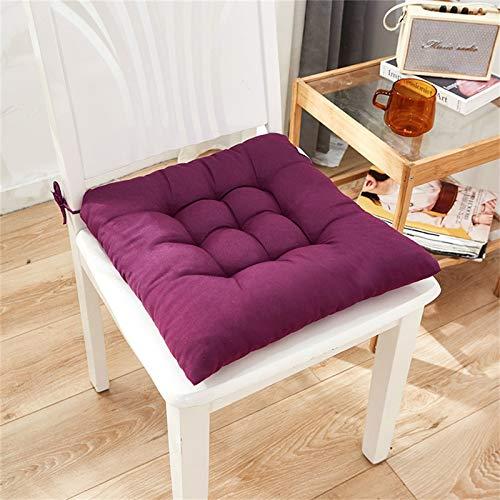 QIFLY Cojines cuadrados acolchados para silla, paquete de almohadillas de asiento suaves, duraderos y a cuadros para sillón de oficina, jardín, 40 x 40 cm con lazos de celosía