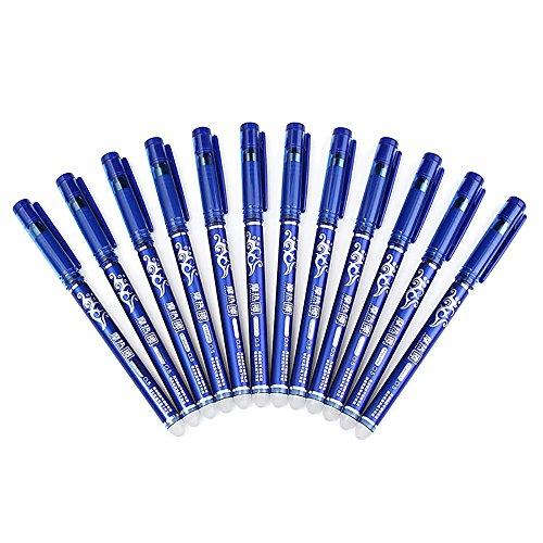 Huayang 12bolígrafos de tinta de gel azul, borrables, de 0,5mm, escritura fácil, material escolar