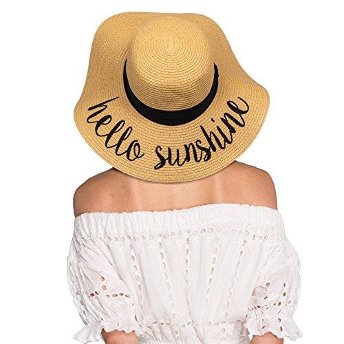 HATSANDSCARF Exclusives Summer Embroidered Lettering Floppy Brim Straw Sun Hat (ST-2017) (Hello Sunshine)
