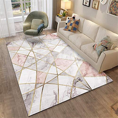 DJHWWD Alfombras Insonorizadas Habitacións La Alfombrae Alfombra de salón de diseño geométrico de mármol Rosa Cuidado fácil Buen Aislamiento Moqueta Rosado 200X300CM