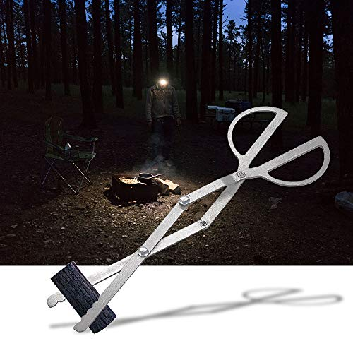 Log Grabber Fireplace Tongs Wood Fired Oven Tool Grill Camping Fire Pit Tool for Outdoor Stove Long Logs Tweezers Firewood Tongs Campfire Tongs