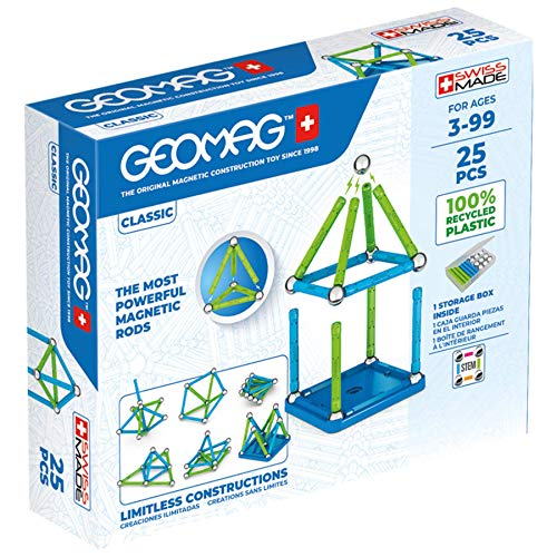 Geomag Magnetic Sticks and Balls Building Set | STEM & Educational Magnet Toys Made from 100% Recycled Plastic | Storage Box | Classic 25 Piece Age 3-99