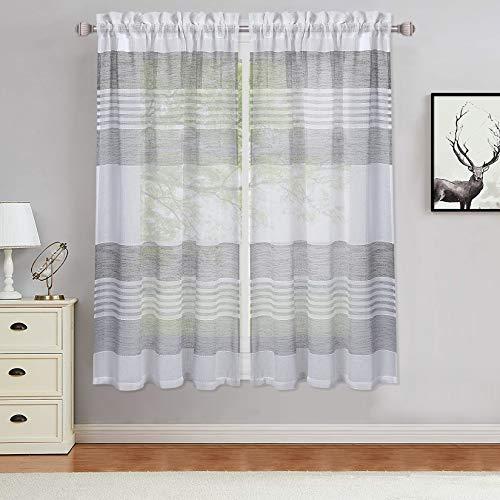 LinTimes Kurzstore Sheer Gardine, Streifen Muster Scheibengardine mit Tunnelzug klein Vorhänge für Küche Wohnzimmer, 2er Set,69*114cm(27