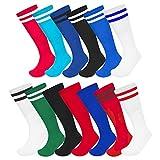 Pack de 3 calcetines unisex para fútbol, rugby, fútbol, fútbol, fútbol, hockey y hockey, color Blanco con rayas negras., tamaño UK 6-11 (EU 39-45) MENS SIZE