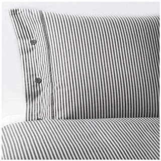 Beautiful White and Gray Striped Pattern Duvet Cover and Pillowcases King Size Ikea Nyponros
