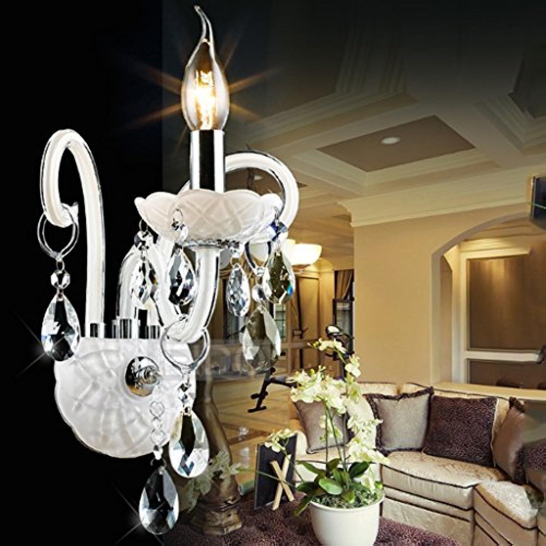 Europische Wandleuchte, LED Treppenwand Wandleuchte Wohnzimmer Schlafzimmer Kristall Wand Lampe Gang Lampe Kerze Nachttisch Lampe (Farbe   Einzelkopf)