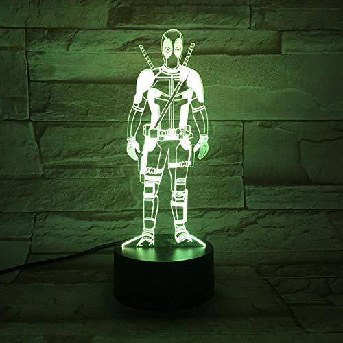 Illusionslampe 3D Nachtlicht Deadpool Halbkörper Führte Bunte Touch Gradient Farbe Dekorative Tischlampe-Bluetooth-Lautsprecher Schwarze Basis_Deadpool 1