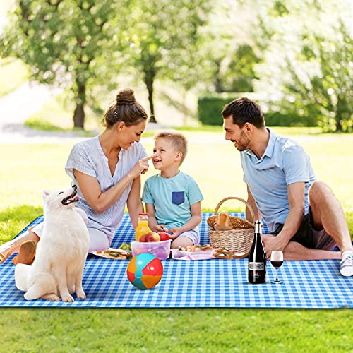 Braoses Wasserdicht Picknickdecke 200 x 200 cm Stranddecke Sanddichte, Outdoor XXL Strandmatte, Große Isoliert Picknick-Matte mit Tasche, Campingdecke für Strand Campen Wandern Gras und Reisen Blau