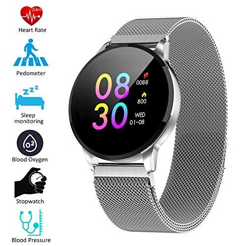 Padgene Smartwatch IP67 Impermeable Pantalla Color Pulsera Actividad Reloj Inteligente Deportivo con Monitor de Ritmo Cardiaco, Sueño, Notificación de Llamada y Mensaje para Android e iOS (Plateado)