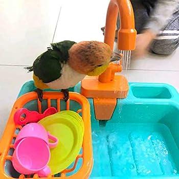 Gobabo Baignoire automatique pour oiseaux, perroquets, piscine, mangeoire pour oiseaux, animal domestique, baignoire avec robinet (bleu)