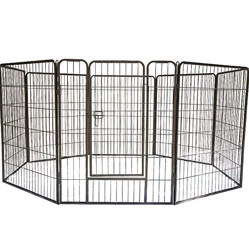 """QRDA 8-Panel Dog Pet Folding Metal Exercise Playpen,for Indoor and Outdoor 32""""×39""""H"""
