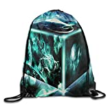 Etryrt Prämie Turnbeutel,Sporttaschen, Gym Drawstring Bags Space Cube Wallpaper Draw Rope Shopping Travel Backpack Tote Student Camping
