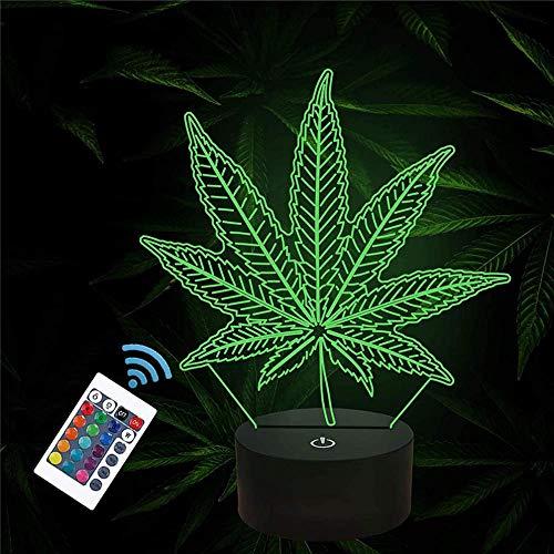 Luz nocturna 3D, lámpara de ilusiones con control remoto, 16 colores cambiantes USB LED lámpara de mesa decoración de escritorio para niños, Navidad, Halloween, cumpleaños, marihuana, hoja de