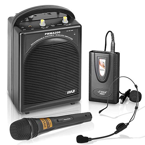 Pyle Portable PA Speaker & Microphone System - FM Stereo Radio, Built-in Rechargeable Battery, Aux & Microphone Inputs, Includes Beltpack, Handled Headset & Lavalier Mics - PWMA200