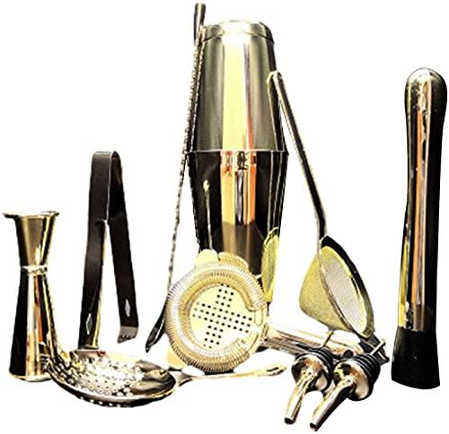 XUERUIGANG 10 piezas de conjunto de mezcla de cócteles de acero inoxidable, conjunto de mezclas, incluyendo coctelera, copa de medición, filtro, cuchara de agitación, pinzas de hielo, abridor de botel