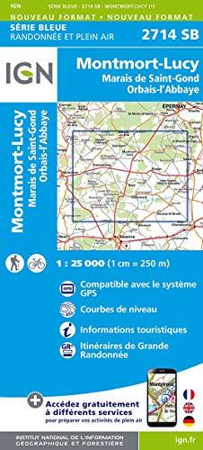 Montmort-Lucy.Marais de St-Gond.Orbais-l'Abbaye 1:25 000: Compatible avec le systéme GPS / Courbes de niveau / Informations touristiques / Itinéraires de Grande Randonnée