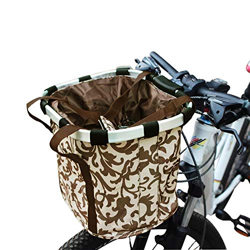 URBEST Bike Basket,Small Pets Cat Dog Folding Carrier,Removable Bicycle Handlebar Front Basket, Quick Release and Easy to Install,Detachable Cycling Bag (Coffee Leaf)