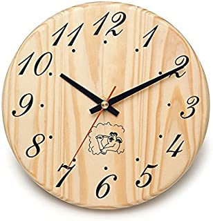 ALEKO WJ12 Analog Clock for Sauna Handcrafted from Finnish Pine