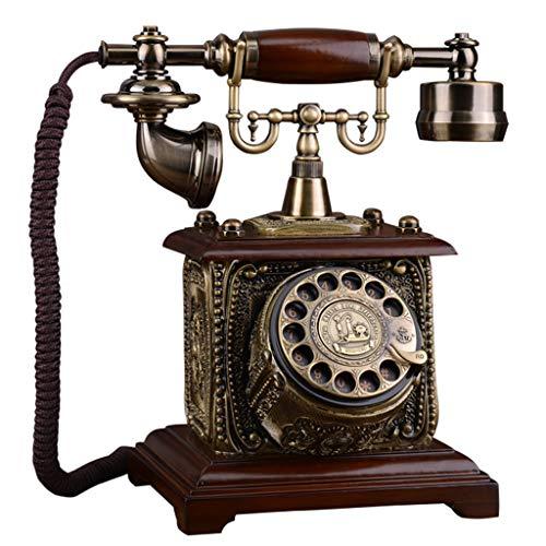 ZARTPMO Teléfono Fijo Fijo Teléfono Antiguo Dial Giratorio Teléfono Fijo Europeo con Cable de época con Manos Libres, Auriculares Colgantes para la Oficina del Hotel en casa