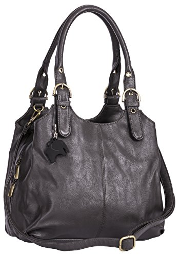 BHBS Damen-Schultertasche mit mehreren Taschen und langen Riemen, mittelgroß, mit Marken-Schutztasche Gr. One size, Schwarz (schwarzer Rand am Griff)