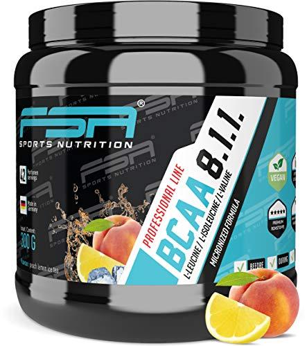 FSA Nutrition BCAA Pulver 8:1:1 - Aminosäuren Leucin, Isoleucin, Valin - 300 g, Pfirsich Zitrone Eistee