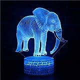 Ulalaza 3D Illusion Nuit Lampe de Bureau éléphant de Bureau avec télécommande et commutateur Tactile 16 Couleurs Cadeau de décoration pour Enfants