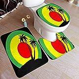BOBO-Shop Rastafari Reggae Emblem Black Palms Pad Alfombras de baño Alfombras de baño/WC...
