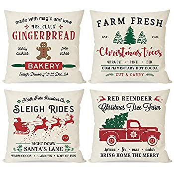 PANDICORN Farmhouse Christmas Pillows Covers 18x18 Set of 4 for Christmas Decorations Red and Green Christmas Trees Truck Christmas Decor Throw Pillow Cases for Home Couch Outdoor Indoor