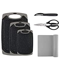 vicloon tagliere set, 3 pz tagliere cucina plastica con scanalatura, addizionale pelapatate, forbici, tagliere tappetino (nero + grigio) …
