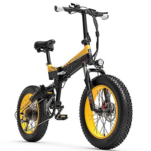 X3000plus 48V 1000W Bicicleta eléctrica Plegable para Nieve Bicicleta de montaña de 20 Pulgadas Suspensión Completa Delantera y Trasera con Pantalla LCD (Black Yellow, 14.5Ah)