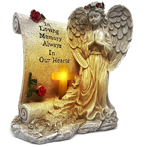 OakiWay Memorial Gifts - Garden Angel Statue Sympathy Gift with Solar Led Light, in Memory of Loved One, Condolence Gifts, Bereavement Gifts, Remembrance Gifts, Cemetary Grave Decorations