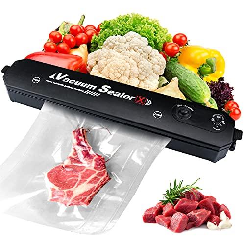 CEVILLAE Macchina Sottovuoto per Alimenti Professionale con 2 in 1 e 20 Sacchetti Sottovuoto per Alimenti Freschi Secchi e Umidi, Molto Adatta per Carne, Pesce, Snack, Arachidi, Frutta e Verdura