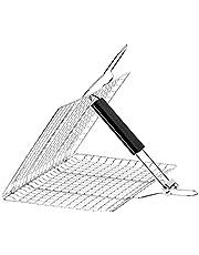 Magiin bärbar BBQ grillkorg, rostfritt stål rostmapp verktyg med trähandtag för rostfisk grönsak räkor skaldjur (32 x 32 cm)