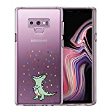 Unov Case for Galaxy Note 9 Clear with Design Soft TPU Shock Absorption Slim Embossed Pattern Protective Back Cover(Rainbow Dinosaur)