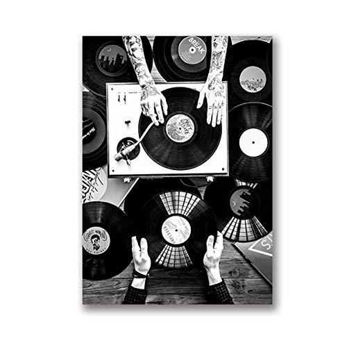 Póster de vinilo para amantes de la pared, lienzo nórdico, impresión vintage, color negro, blanco, 30 x 45 cm, sin marco