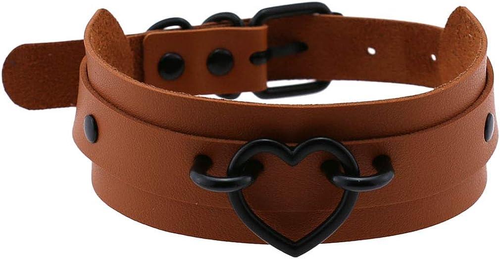 YJFQLBD Women Heart Vintage Necklace Girls Leather Punk Rock Choker Collar Necklace