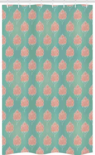 ABAKUHAUS Bloemen Douchegordijn, Romantische Corsage van Bloemen, voor Douchecabine Stoffen Badkamer Decoratie Set met Ophangringen, 120 x 180 cm, Koraal en Almond Green