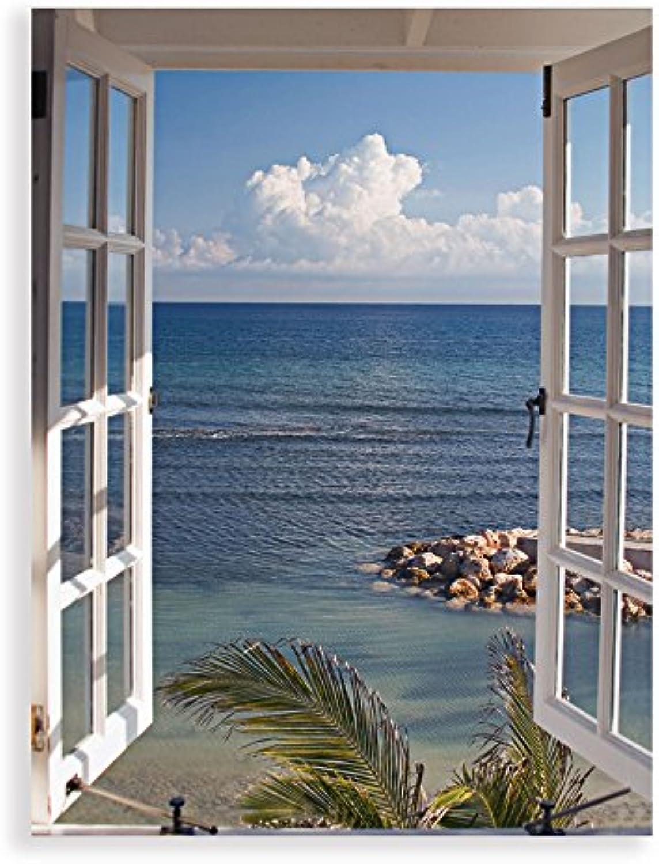 Artland Qualittsbilder I Glasbilder Deko Glas Bilder 45 x 60 cm Wandbild Fensterblick Fotografie Blau G3FP Fenster Zum Paradies