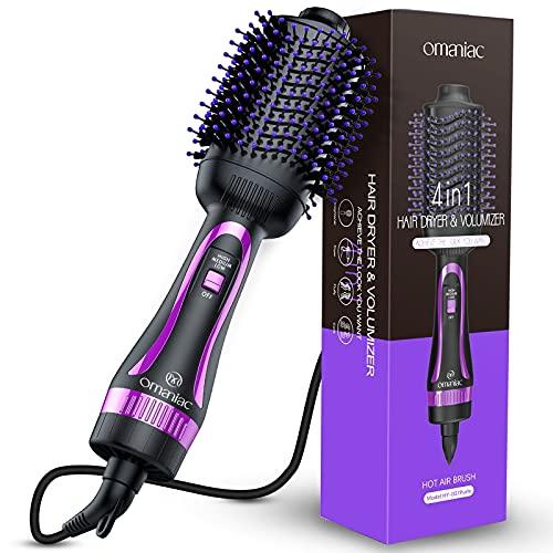 Cepillo de aire caliente, cepillo secador de pelo OMANIAC, secado con pelo, pelo rizado, pelo recto tres en uno, cepillo de iones negativos