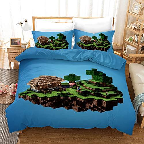 Yomoco Minecraft:Story Mode Parure de lit 3 pièces en microfibre avec housse de couette et taie d'oreiller Impression numérique 3D, 02, King 220x240cm