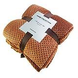 YFYJ Weiche Decke Flanell Ananas Gitter Werfen Kinder Decke Einfarbig Tagesdecke Plüsch Für Flugzeug Sofa Büro Schlafzimmer Rotbraun 180 * 200cm