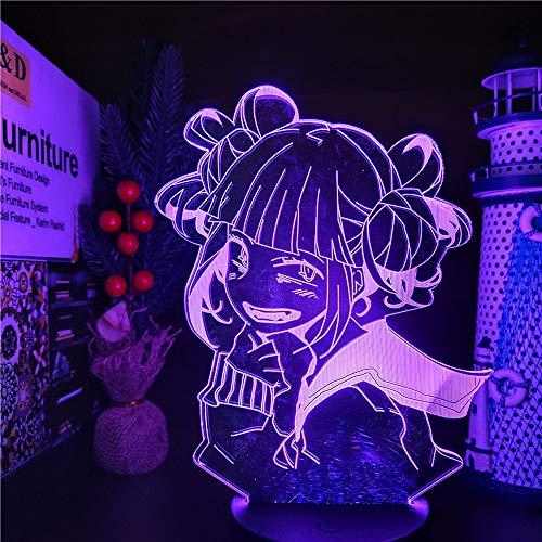 My Hero Academia Luz nocturna LED 3D Ilusión Anime Carácter Hiimiko Toga Lámpara con control remoto USB, 16 colores LED