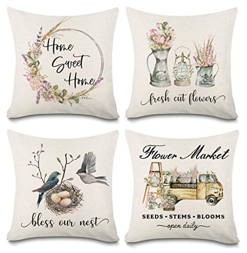 Kithomer Spring Pillow Covers 18x18 for Couch Set of 4 Farmhouse Decorative Summer Throw Pillows Home Decorations