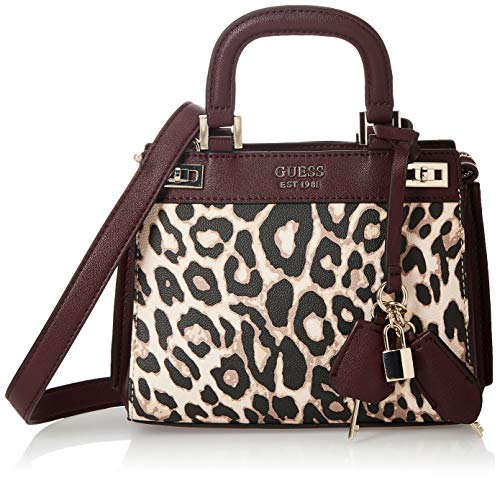 GUESS womens Katey Mini Satchel, Leopard, One Size US