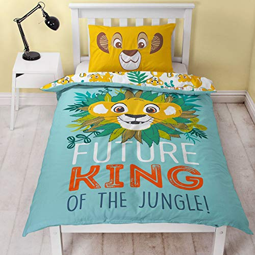 Lion King Disney Simba Single Duvet Cover | Officially Licensed Reversible Two Sided King Of The Jungle Design With Matching Pillow Case