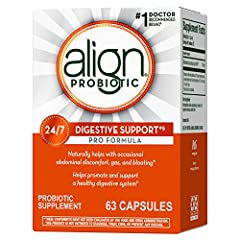 24/7 DIGESTIVE SUPPORT PRO FORMULA Align Probiotic Supplement, for men and women, naturally helps soothe occasional abdominal discomfort, gas, and bloating. One capsule a day, taken with or without food, helps to maintain your digestive system's natu...